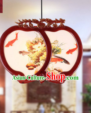 Chinese Ancient Handmade and Carved Natural Wood Gold Fish Hanging Lantern