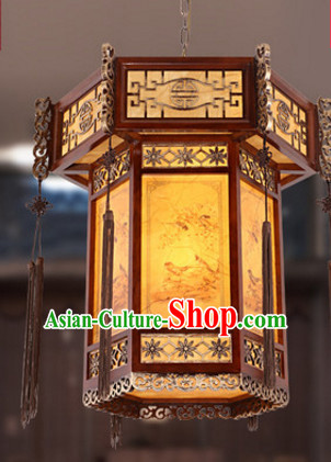 Chinese Ancient Handmade and Carved Natural Wood Palace Hanging Lantern