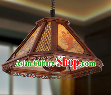 Chinese Ancient Handmade and Carved Natural Wood Mahjong Lantern