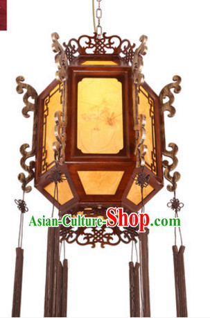 Chinese Ancient Handmade and Carved Natural Wood Ceiling Lantern