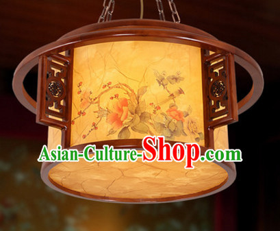 Chinese Ancient Handmade and Carved Natural Wood Hanging Palace Lantern
