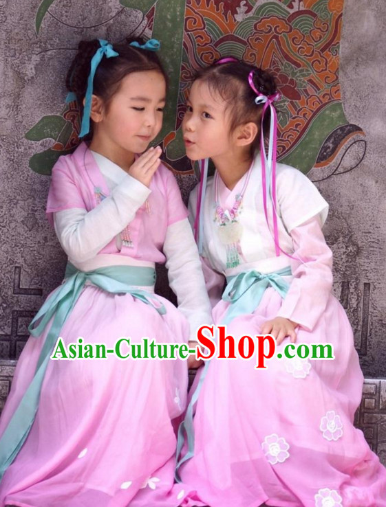Ancient Chinese Kids Hanfu Costume and Hair Accessories Complete Set
