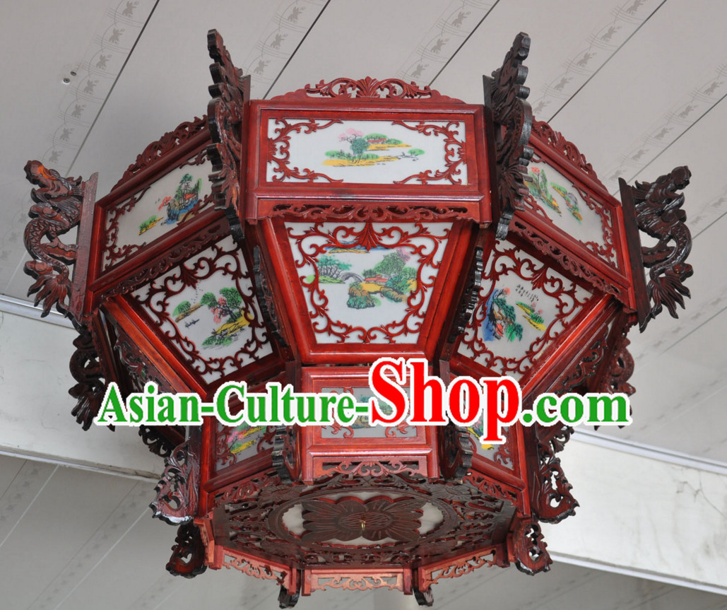 Chinese Classical Handmade and Carved Octagonal Hanging Dragon Palace Lantern