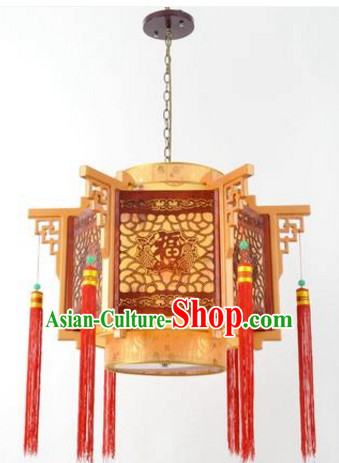 Traditional Chinese Classical Natural Wood and Carved Hanging Palace Lantern