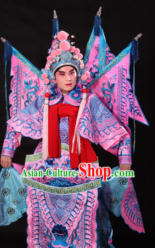Pink Ancient Chinese Opera Embroidered Dragon General Costumes Complete Set