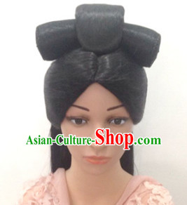 Ancient Chinese Empress Female Black Long Wigs