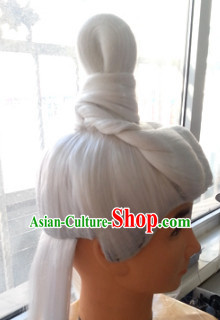 Chinese Ancient White Male Hairstyle Long Wigs