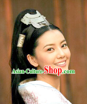 Chinese Ancient Swordswoman Black Female Hairstyle Long Wigs