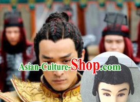 Chinese Ancient Swordsmen Male Hairstyle Long Black Wigs