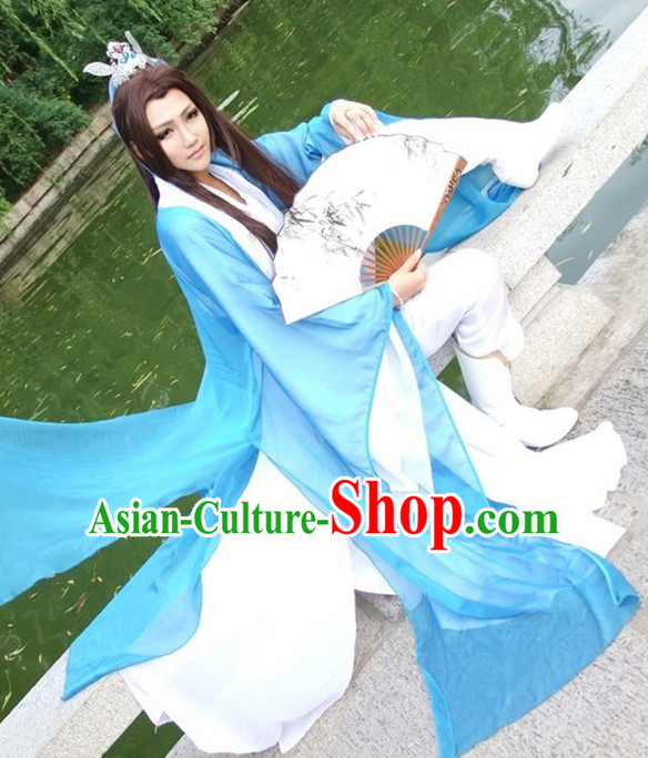 Ancient Chinese Swordswoman Costumes and Crown Complete Set for Women or Men