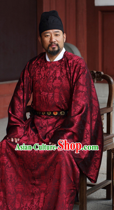 Top Chinese Song Ming Dynasty Clothing and Hat Complete Set for Men