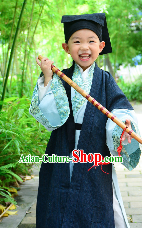 Top Chinese Han Dynasty Clothing and Hat Complete Set for Kids