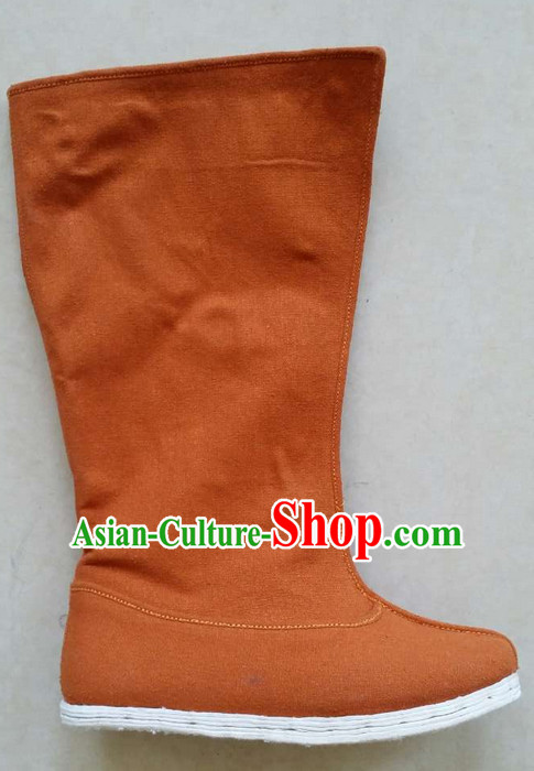 Ancient Chinese Handmade Brown Hanfu Boots Shoes