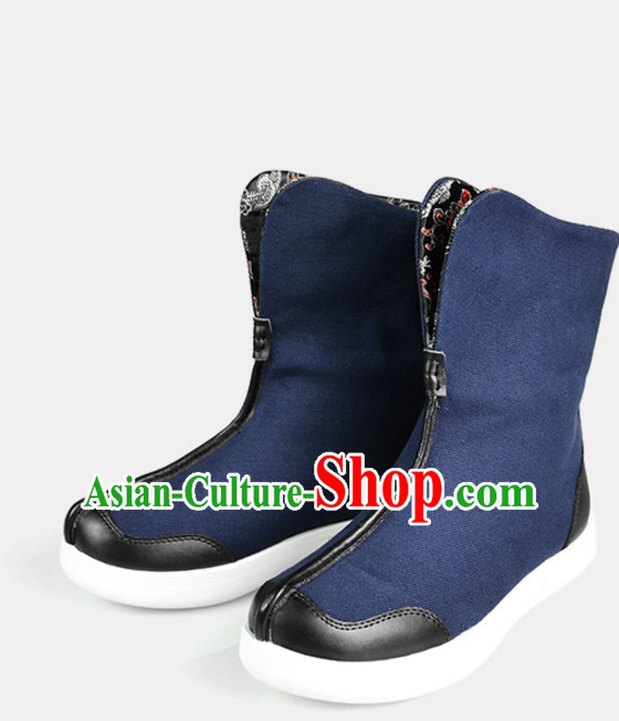 Traditional Chinese Style Classic Handmade Blue Boots for Men