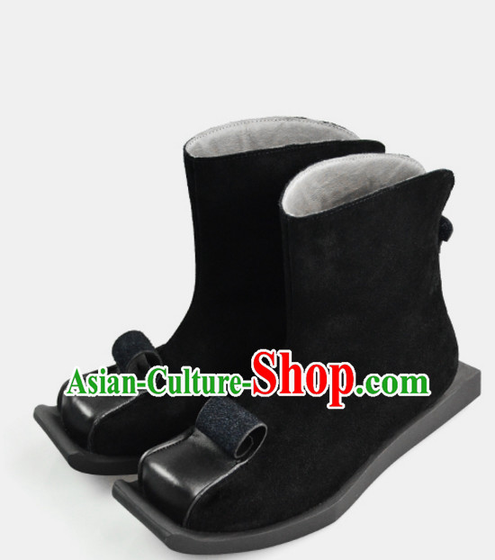 Traditional Chinese Style Classic Handmade Black Boots for Men