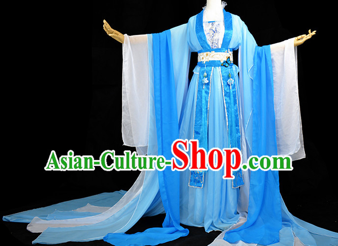 Ancient Chinese Blue Queen Princess Fairy Costume Complete Set for Women