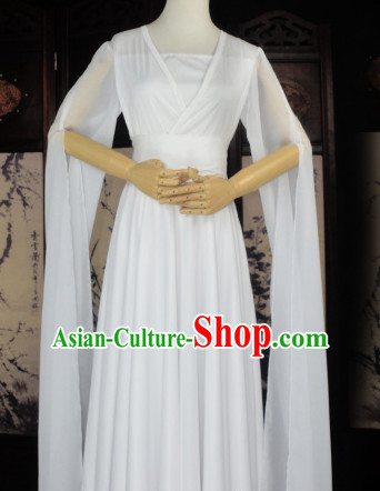 Traditional Chinese Classical Pure White Bridal Wedding Dress for Women