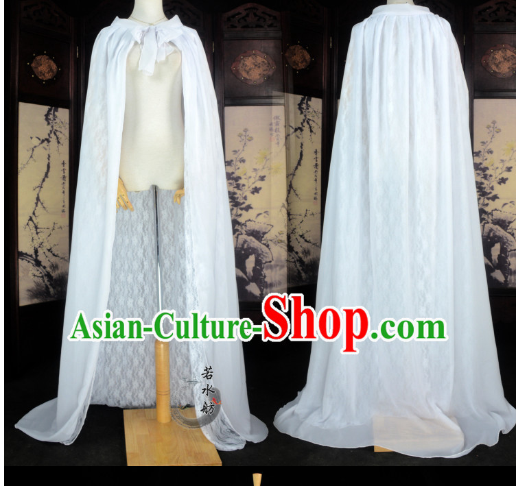 White Traditional Chinese Classical Mantle Cape