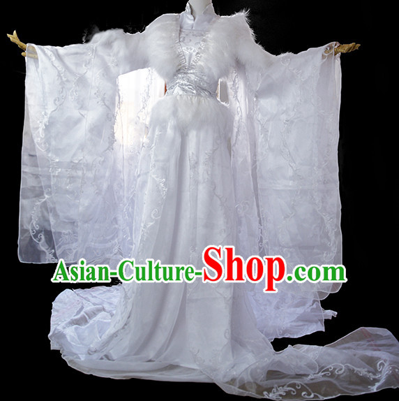 White Traditional Chinese Classical White Princess Clothing Complete Set