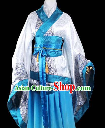 Blue White Traditional Chinese Classical Female Wife Clothing Complete Set