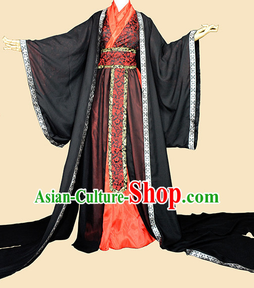 Black Red Traditional Chinese Classical Hanfu Clothing Complete Set with Long Tail