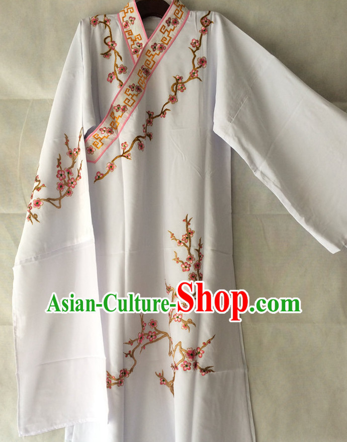 Ancient Chinese Scholar Embroidered Plum Blossom Opera Costumes Complete Set for Men