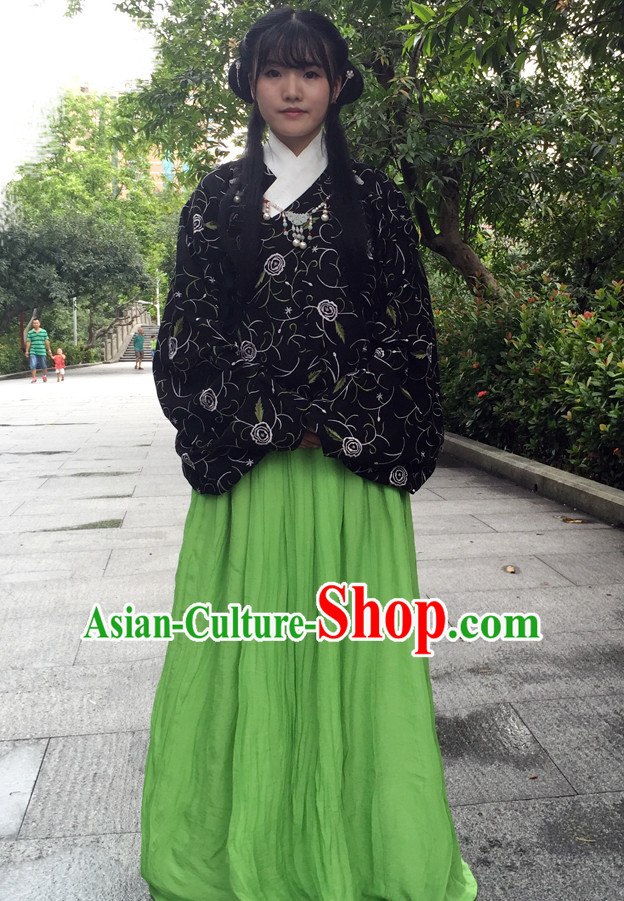 Ancient Chinese Song Dynasty Hanfu Garment Clothing and Hair Accessories Complete Set for Women