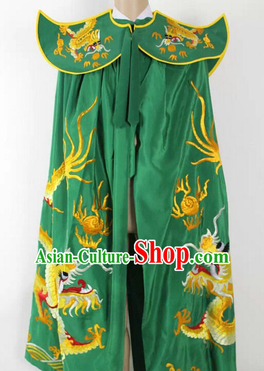 Ancient Chinese Opera Embroidered Dragon Mantle Cape Complete Set for Men