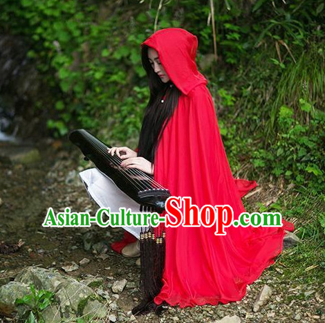 Chinese Classical Red Mantle for Women or Girls