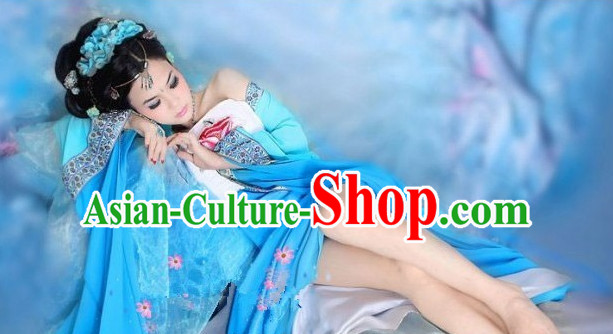 Blue Chinese Classical Lady Costumes for Women or Girls