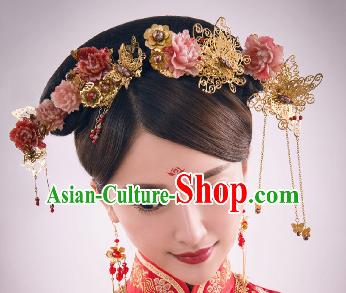 Traditional Chinese Princess Brides Wedding Hair Jewelry Headpieces