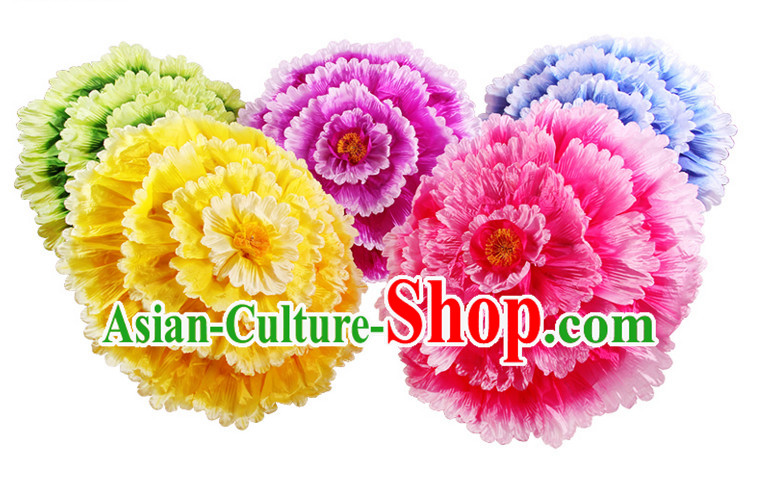 40 Inches Yellow Professional Stage Performance Large Peony Flower Umbrella