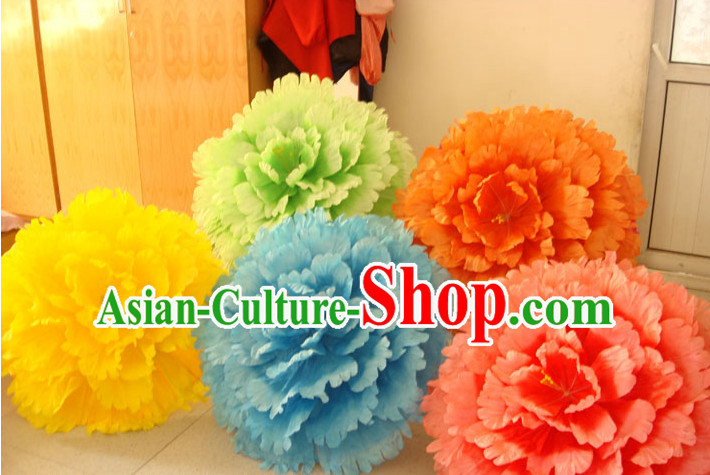 28 Inches Yellow Professional Stage Performance Large Peony Flower Umbrella