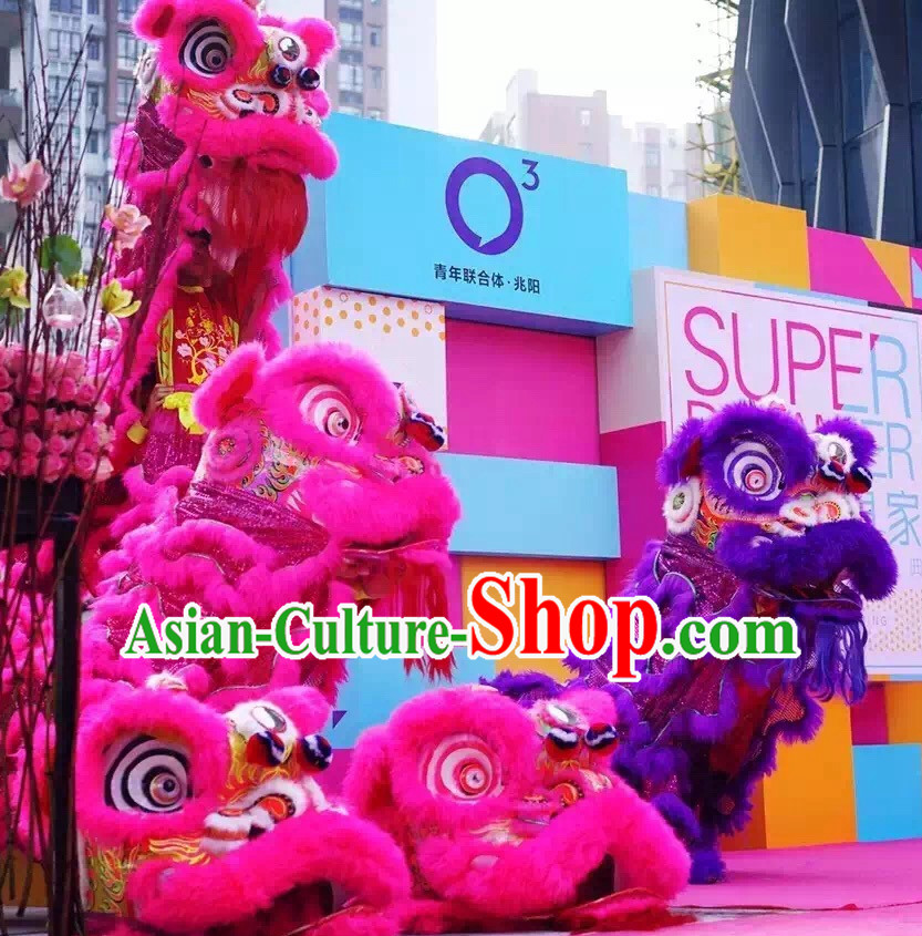 Simple Ebay Style Peachblow NEW 100_ Natural Wool Chinese Lion Dance Costumes Complete Set
