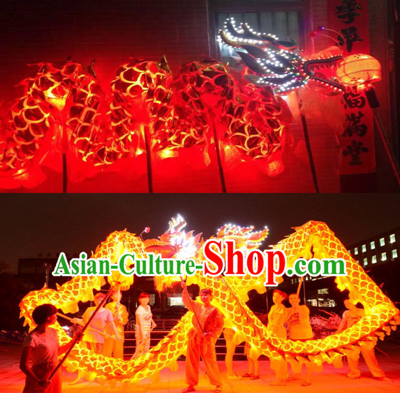 LED Gold Dragon Dance Costumes Complete Set for 7-8 People