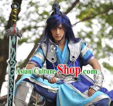 Ancient Chinese Cosplay Hero Armor Costumes Swordsman Hanfu Clothes Complete Set for Men and Teenagers
