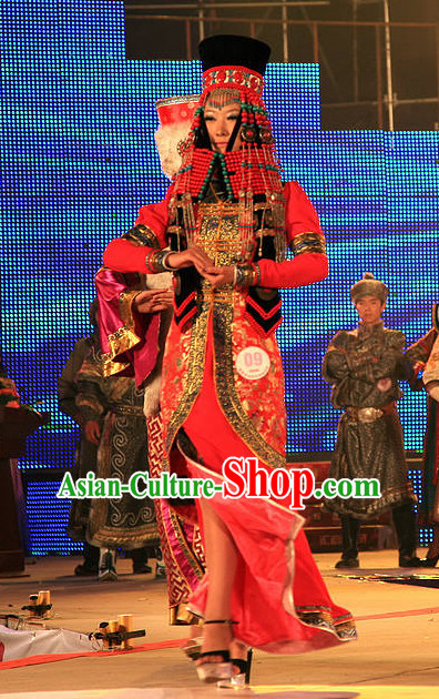 Mongolian Empress Clothing and Hat Complete Set for Women