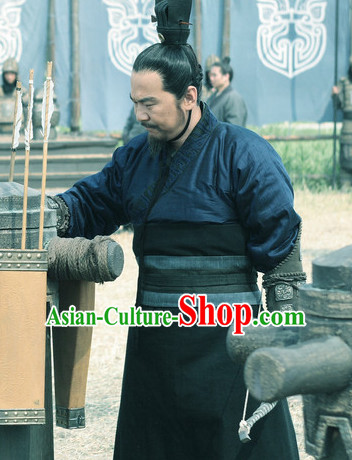 Ancient Chinese Three Kingdoms Cao Cao Costumes Garment Clothing and Coronet Complete Set for Men