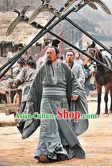 Ancient Chinese Wise Man Confucius Costumes Garment Clothing and Helmet Complete Set
