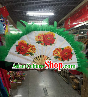 Green Korean Traditional Handmade Classical Dance Fan