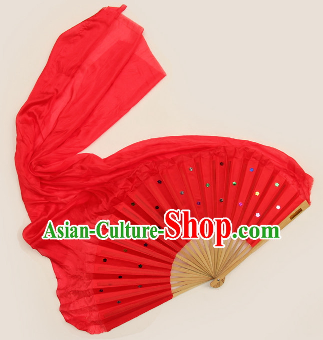 1 Meter Long Pure Silk Chinese Red Dance Fan