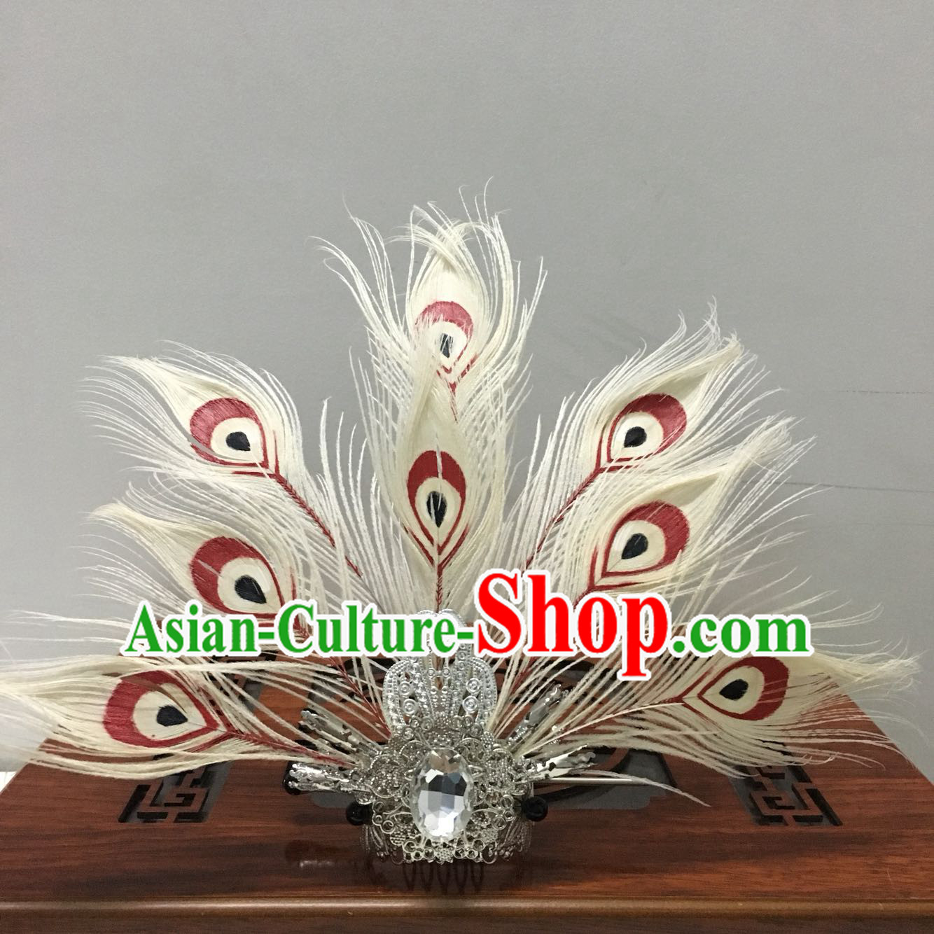 Chinese White Peacock Feather Headpieces Crown Coronet