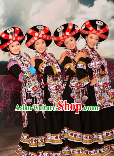 Chinese Ethnic Traditional Clothing Garment and Hat Complete Set for Women