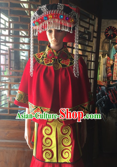 Chinese Folk Ethnic Traditional Dress Garment and Hat Complete Set for Women