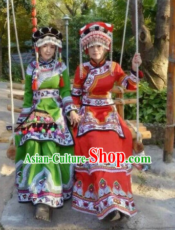 Red Chinese Folk Ethnic Traditional Clothes and Hat Complete Set for Women