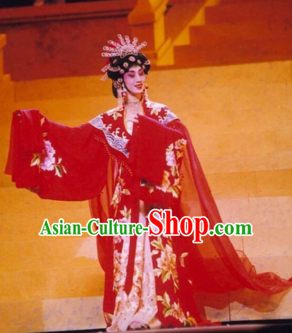 Chinese Ancient Opera Tang Dynasty Empress Wu Zetian Dresses and Hair Accessories Complete Set