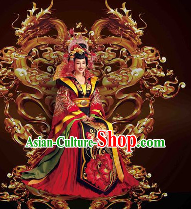 Chinese Ancient Tang Dynasty Empress Wu Zetian Dresses and Hair Accessories Complete Set