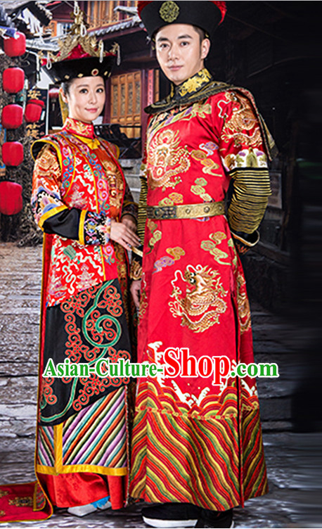 Ancient Chinese Empress Emperor Royal Dresses Imperial Robe Clothes 2 Complete Sets