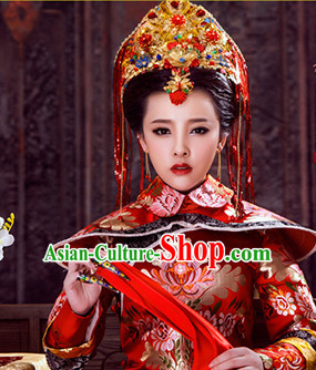 Ancient Chinese Royal Empress Crown Head Pieces Hat