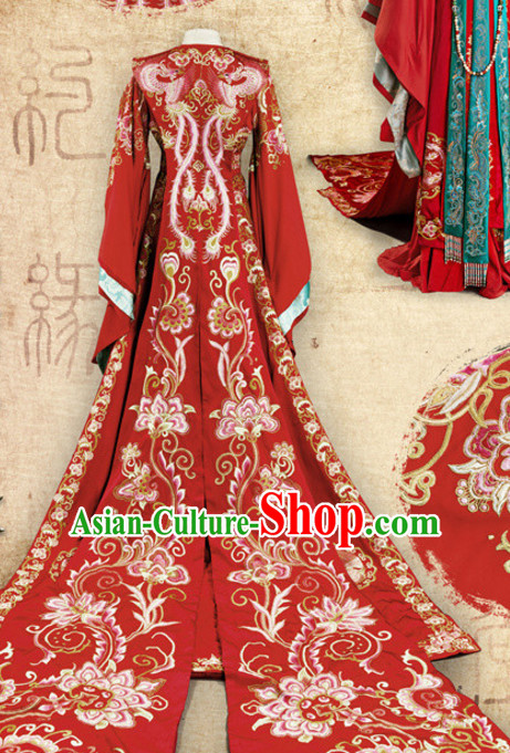 Ancient Chinese Imperial Embroidered Phoenix Empress Royal Wedding Dresses Clothing Complete Set